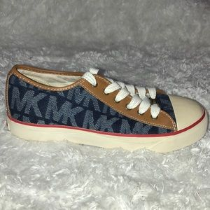Michael Kors Denim Monogram Sneakers Sz 8